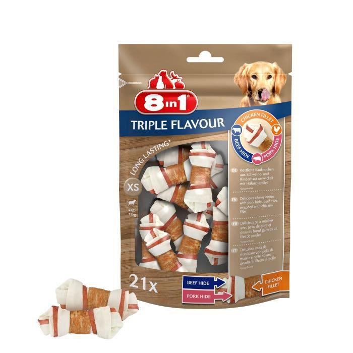 8in1 Triple Flavour Os à mâcher Premium XS aux Bœuf, Porc, Poulet - Pour chien de petite taille - 10 pièces