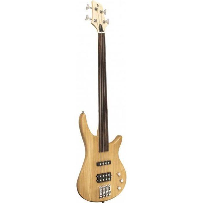 Stagg SBF-40 NAT FL - Guitare basse électrique ''Fusion'', fretless - naturelle