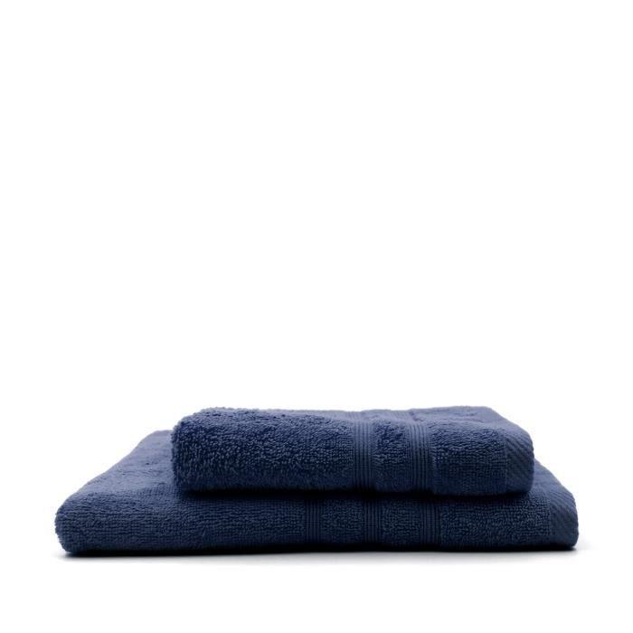TODAY Lot de 1 Serviette de bain 50 x 100 cm + 1 Drap de bain Ciel d'Orage - 70 x 130 cm - 100% coton TODAY