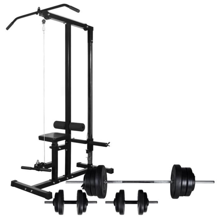 vidaXL Tour de musculation avec jeu d'haltères et poids 60,5 kg