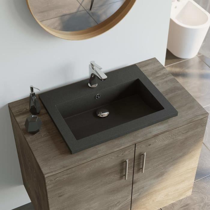Lavabo en granit 600 x 450 x 120 mm Noir - Équipements sanitaires - Éviers et lavabos - Lavabos - Noir - Noir
