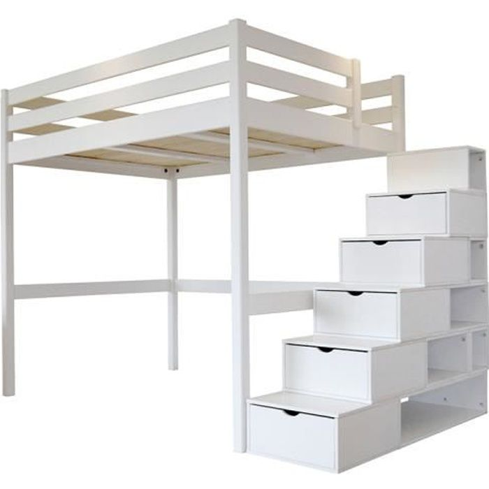 lit mezzanine sylvia avec escalier cube bois achat. Black Bedroom Furniture Sets. Home Design Ideas