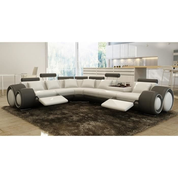 canap d 39 angle relax design en cuir gris et blanc gauche achat vente canap sofa divan. Black Bedroom Furniture Sets. Home Design Ideas
