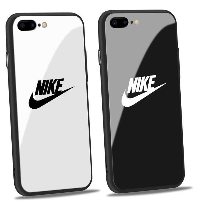2pcs nike coque iphone 6 6s verre blanc noir