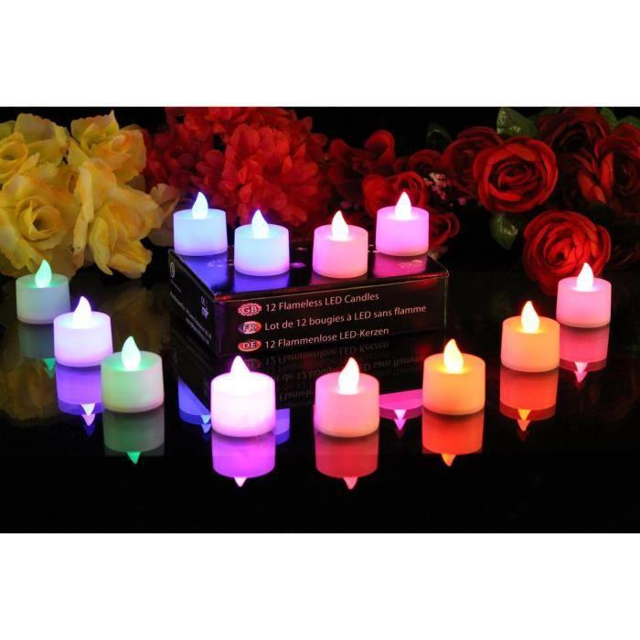 DEL Bougie Grand 25 cm changement de couleur paillettes décoration Bougies Lampe Noël