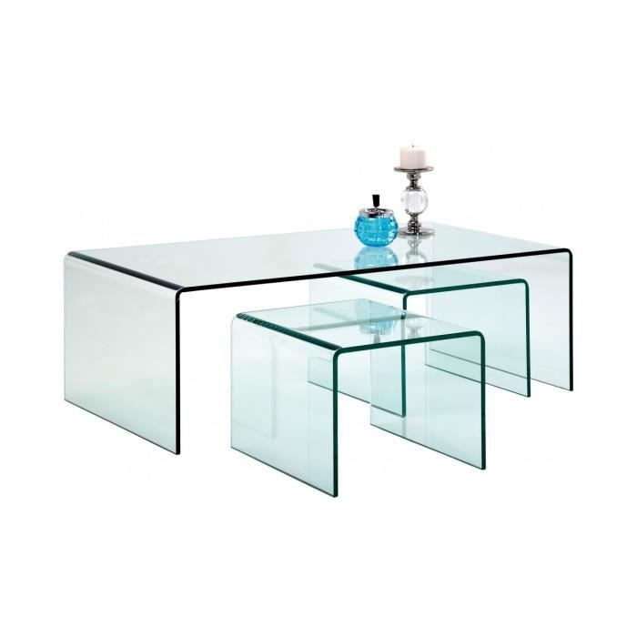 table basse clear club 3 set kare design achat vente. Black Bedroom Furniture Sets. Home Design Ideas