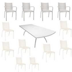 Salon Floris blanc : 1 table + 8 chaises + 4 fa… - Achat / Vente ...