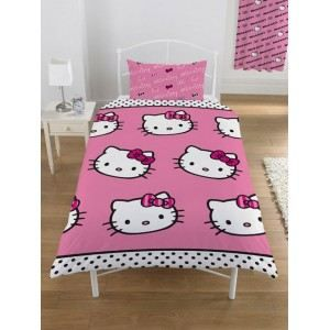 housse de couette hello kitty stripe achat vente. Black Bedroom Furniture Sets. Home Design Ideas