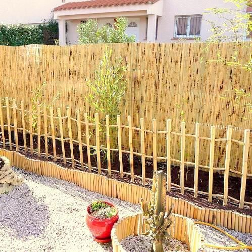 Lot 2 barri res de jardin en bambou naturel achat for Barriere de jardin