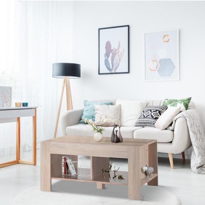 COSTWAY Table Basse en Bois Moderne avec 2 Etages de Rangement Table  d'Appoint de Salon 90 x 30 x 42 cm Marron
