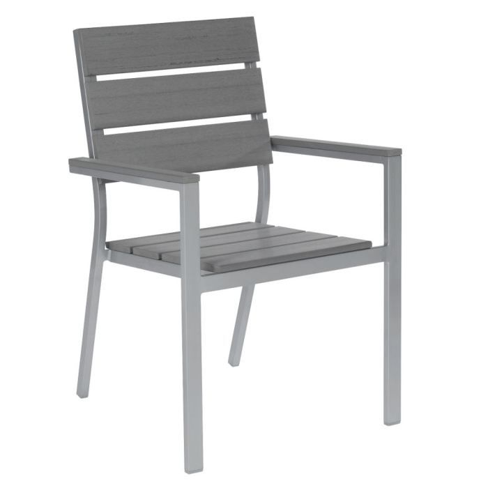 fauteuil de jardin gris en aluminium et lattes achat. Black Bedroom Furniture Sets. Home Design Ideas