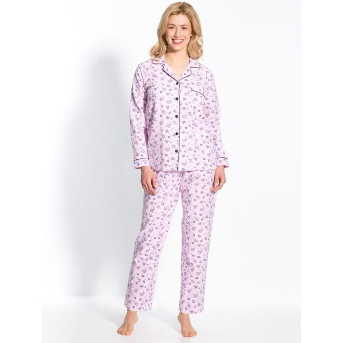 pyjama en flanelle pur coton femme imp rose achat vente chemise de nuit cdiscount. Black Bedroom Furniture Sets. Home Design Ideas