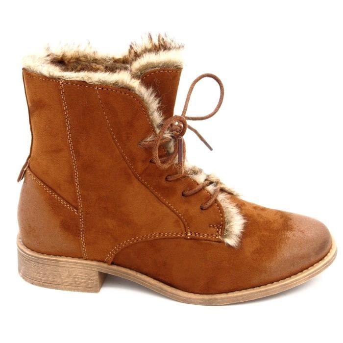 Chaussures Bottines à lacets fourrure aspect daim femme Bout