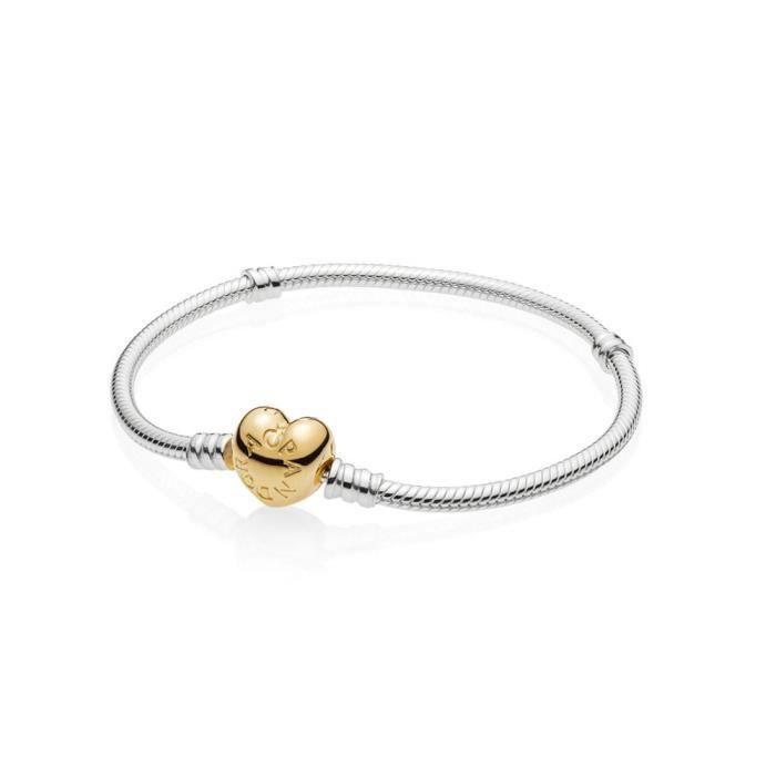 bracelet maille serpent fermoir cœur pandora moments