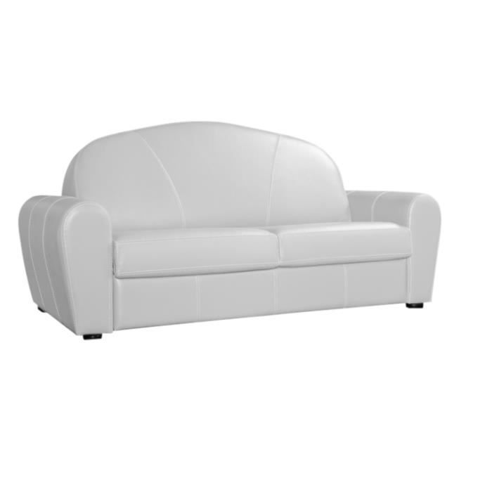 canap convertible 120x190 club cuir recycl blanc achat vente canap sofa divan cuir. Black Bedroom Furniture Sets. Home Design Ideas