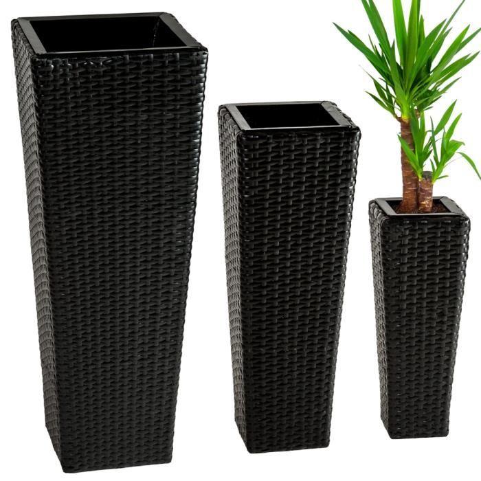 JARDINIÈRE - BAC A FLEUR TECTAKE 3 Pots de fleurs Design en Résine Tressée