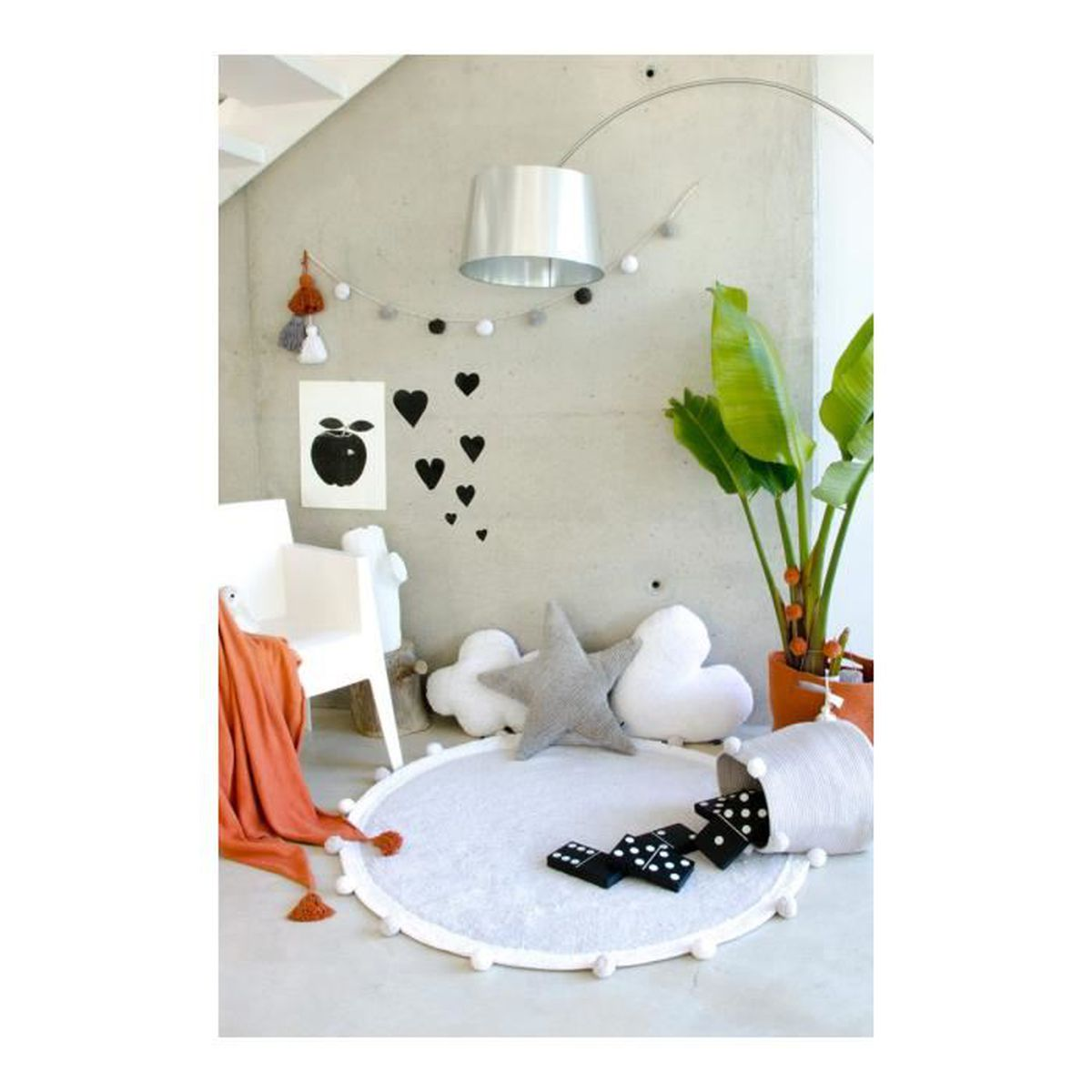 Tapis Chambre Bébé Mixte deladeco - tapis chambre enfant rond gris bubbly lorena
