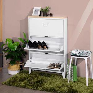MEUBLE À CHAUSSURES LIVERPOOL Meuble à Chaussures - Métal blanc et déc