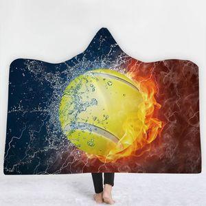 COUVERTURE - PLAID Couverture à capuche,Impression Basket-Ball 3D,130