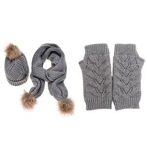 ECHARPE - FOULARD TDC Ensemble bonnet, écharpe et gants - Femme GRIS