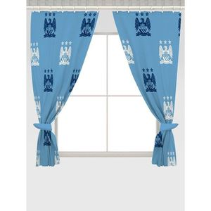 manchester city fc ensemble de rideaux taille 168 cm bleu ciel achat vente rideau. Black Bedroom Furniture Sets. Home Design Ideas