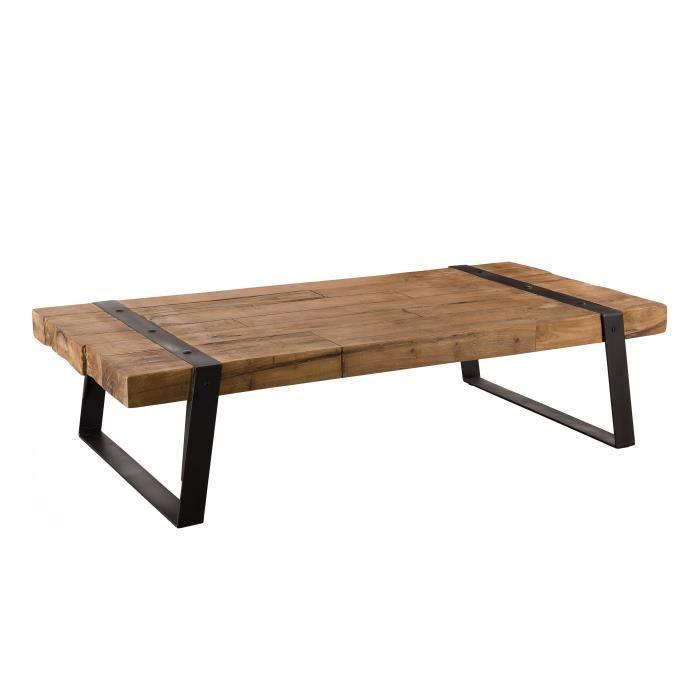Table basse rectangulaire - Teck recyclé et pieds inclinés métal - 140 x 71 x 35 cm