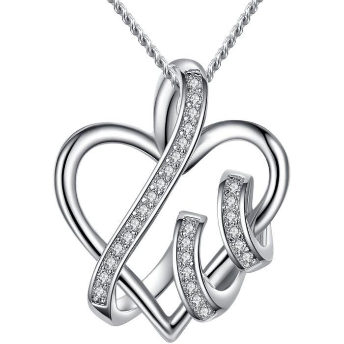 Chaine De Cou Vendue Seule Fine Jewelry femmes Endless Love avec pendentif coeur S925 argent sterling cadeau parfait pour la UVE5M