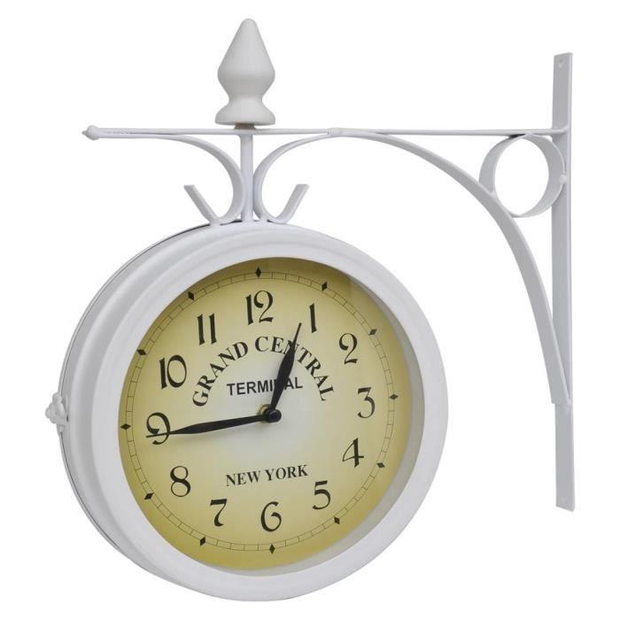 FAC Horloge de gare blanche retro double face New York