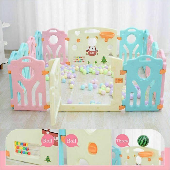Parc bébé plastique pour la sécurité d'enfants barriere maison intérieur - extérieur - Jardin (Multicolore, 10+2 Panels)