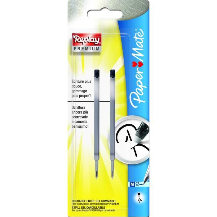 PAPERMATE Lot de 2 recharges pour stylo bille 0,7 mm Replay Premium gel Noir