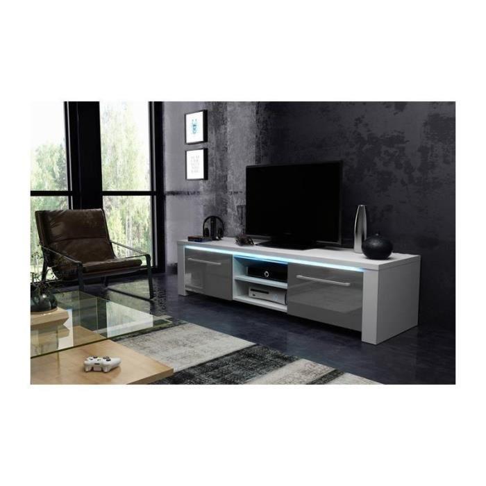 Meuble TV design MANHATTAN 140 cm à 2 portes & 2 niches coloris blanc & gris + led Gris