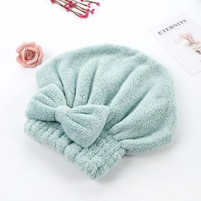 Capuchon absorbant pour cheveux secs Turban Coral Fleece Serviette pour cheveux secs Bonnet de douche épais de haute qualité-vert