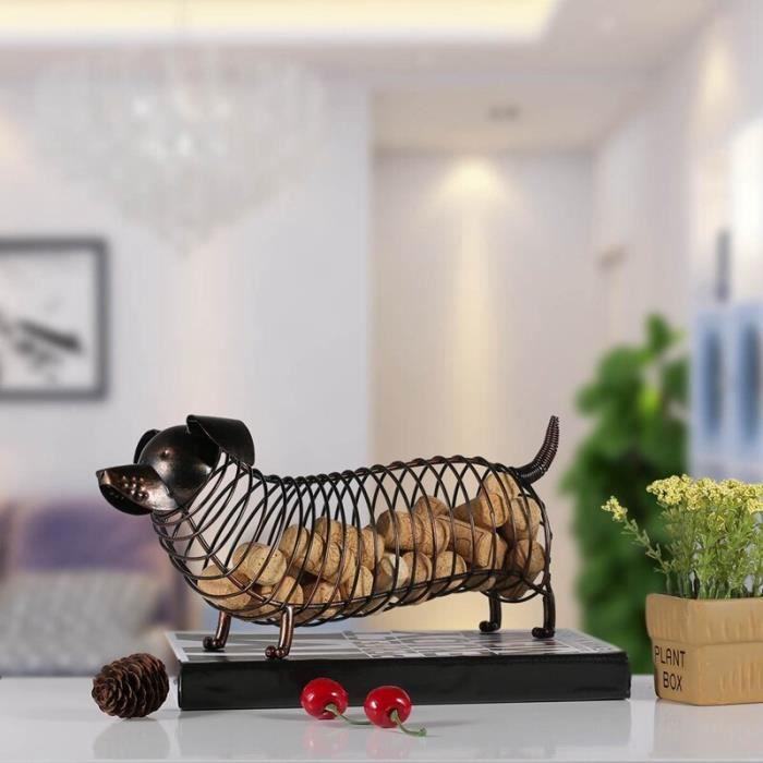 TOI Métal Animal Statue teckel vin liège conteneur moderne artificiel fer artisanat décoration de la maison ornements