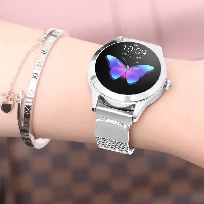 Montre Connectée Femmes Sport Argent KW10, Imperméable Bluetooth Surveillance Santé Cardiaque Sommeil Bracelet En Acier Inoxydable