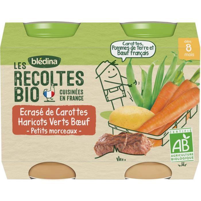 Blédina Les Récoltes Bio Ecrasé de Carottes, haricots verts et bœuf - Lot de 2 pots x 100 g