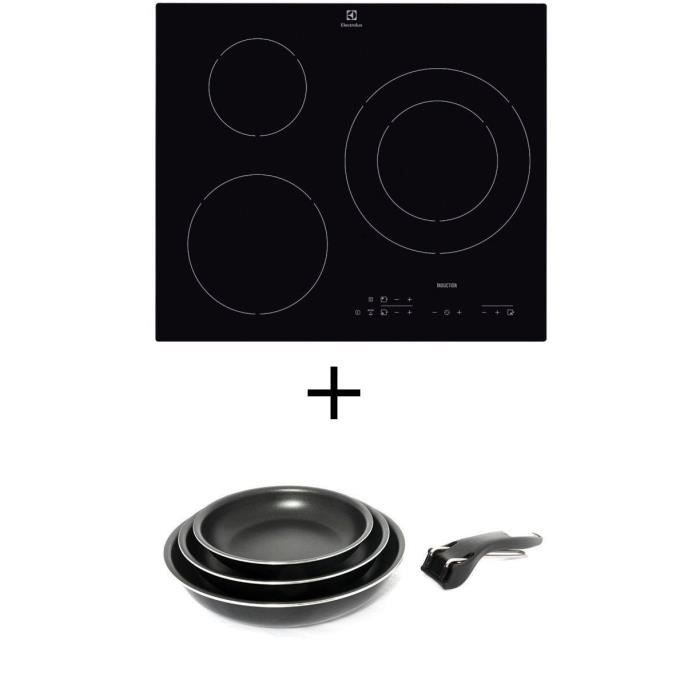 Pack cuisson ELECTROLUX E6113HIK Table de cuisson Induction - 3 zones - 7200W - L56 x P49cm + SITRAM Set 3 poêles 20/24/28