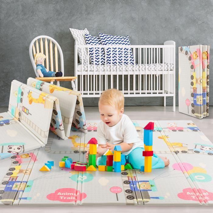 Tapis bébé-Tapis de jeux pour enfant-2face-Non toxique-Extra Épais-Imperméable-Pliable-Antidérapant-Voyage pique-nique 200x180x1cm