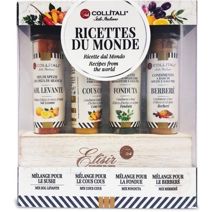 COLLITALI coffret MONDO 4 : 1 présentoir bois : recettes ASIA 17 g / FONDUE 7 g / COUSCOUS 14 g / BERBERE 14 g