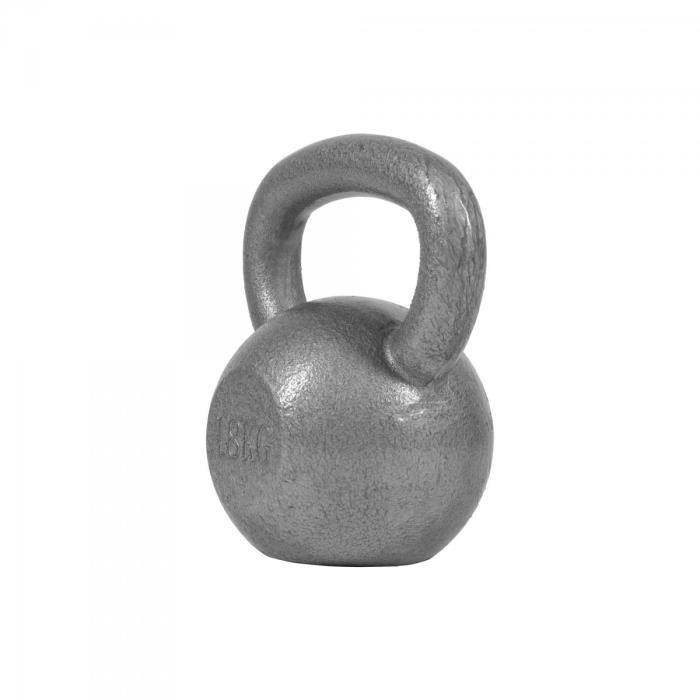 Gorilla Sports - Poids Kettlebell 2kg à 32kg en gris, noir ou dorés - GRIS - 18 KG Gris