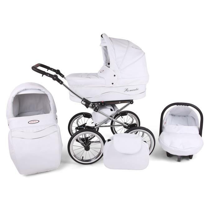 Poussette / Landau combiné 3en1 multifonctions siège-auto & équipement bébé enfant 0-36m Cuir ECO Cadre chromé Romantic Classic -