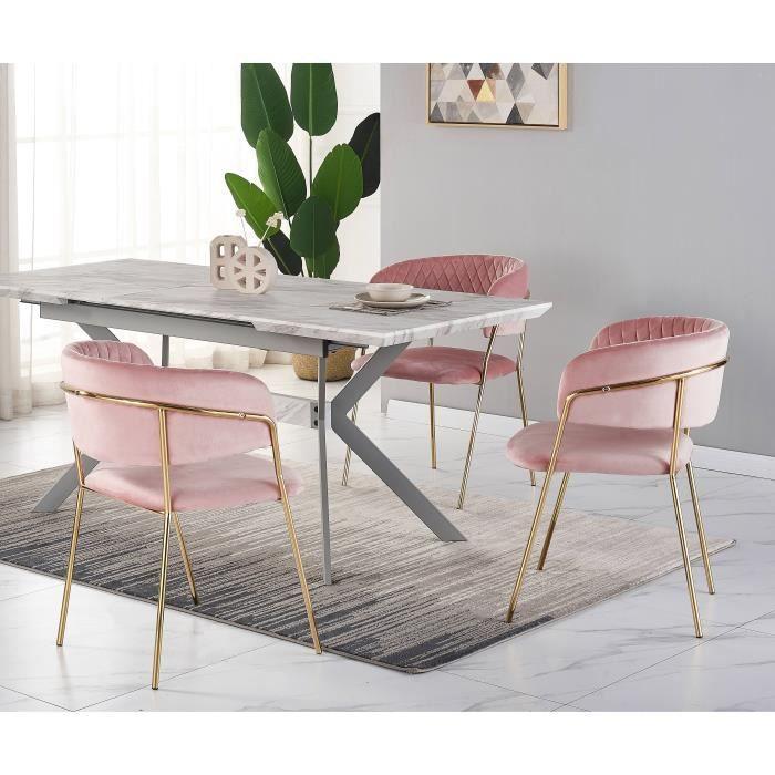Ensemble Salle à Manger Design - Table à Manger Aspect Marbre Blanche + 4 Chaises Roses - Style Contemporain - Table Extensible