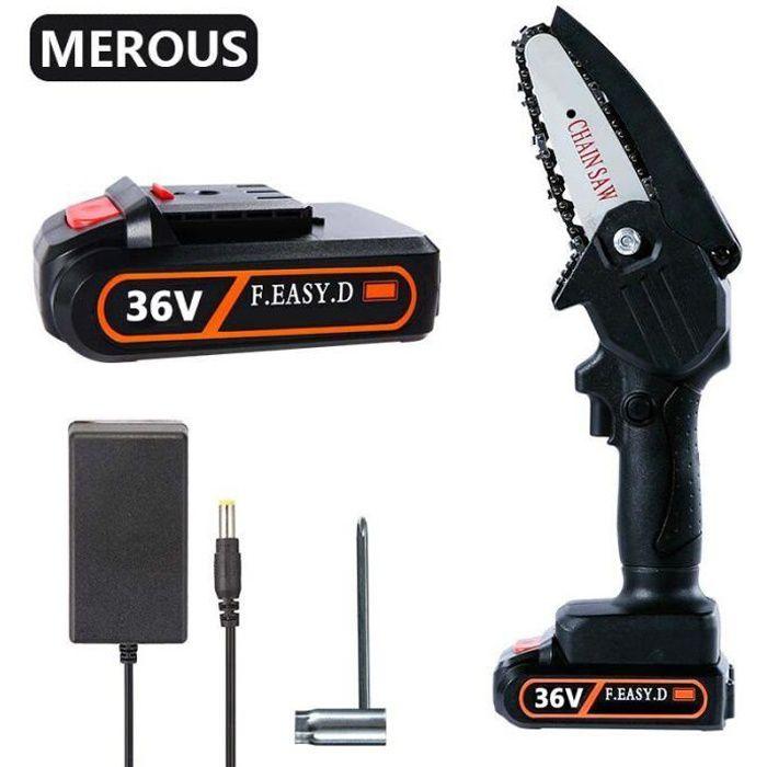 MEROUS Mini tronçonneuse 4pouces 2 batteries pour une autonomie longue durée (36V,1800W)