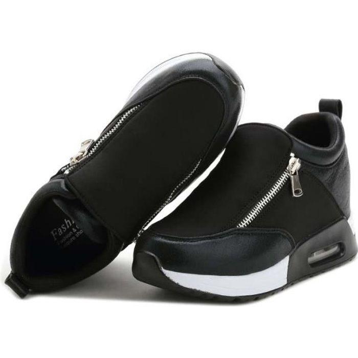 Baskets Femme Fille Vintage Compensées Respirant Chaussres de Sport Running à Loafer - Noir