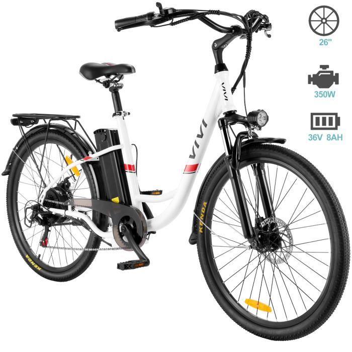 Vélo Électrique 26- Vélo de Ville, Vélo Cruiser Electrique Homme Femme avec Batterie Lithium-ION Amovible 8Ah, 7 Vitesses, Blanc