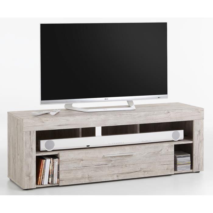 Meuble TV en MDF et panneaux de particules coloris chêne sable- Dim : L 150 x H 53 x P 41,5 cm