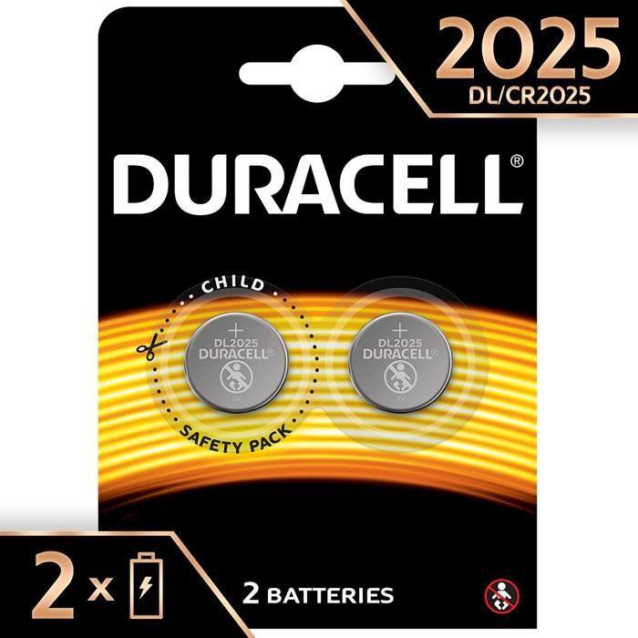 427z Pile Bouton Lithium Duracell Sp&eacuteciale 2025 3 V, Pack de 2 (DL2025-CR2025), Con&ccedilue pour une Utilisation dans les