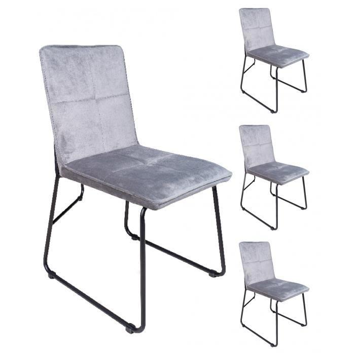 4 Chaises Melbourne velours gris