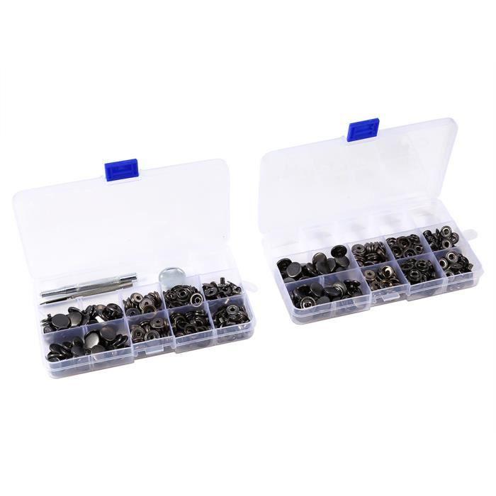 100 ensembles Bouton de Fermeture bouton pression Appuyez sur Stud bouton avec installer Tool Kit