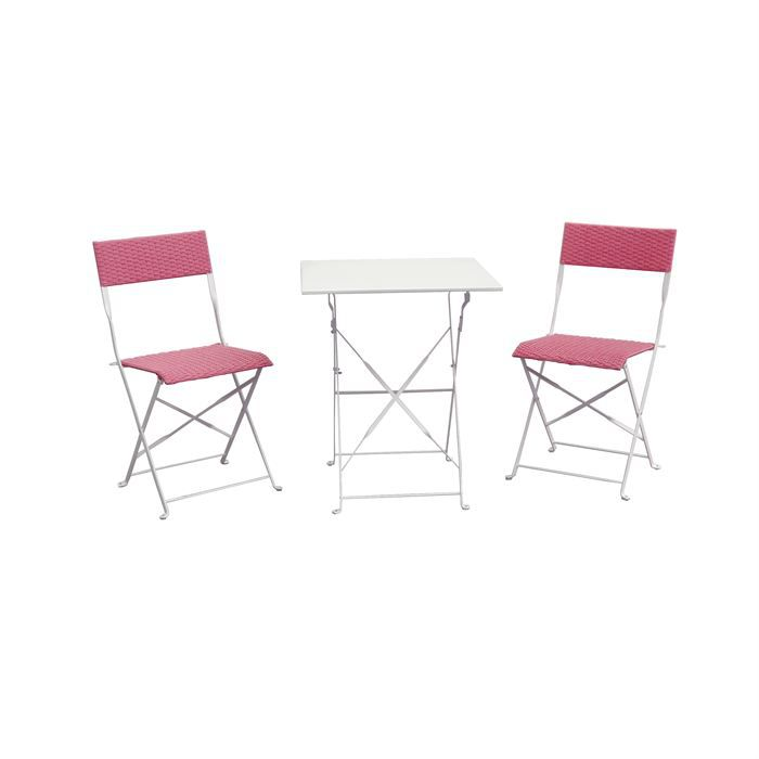 Salon De Jardin R Sine Tress E Table Pliable Rose Achat Vente Salon De Jardin Salon De