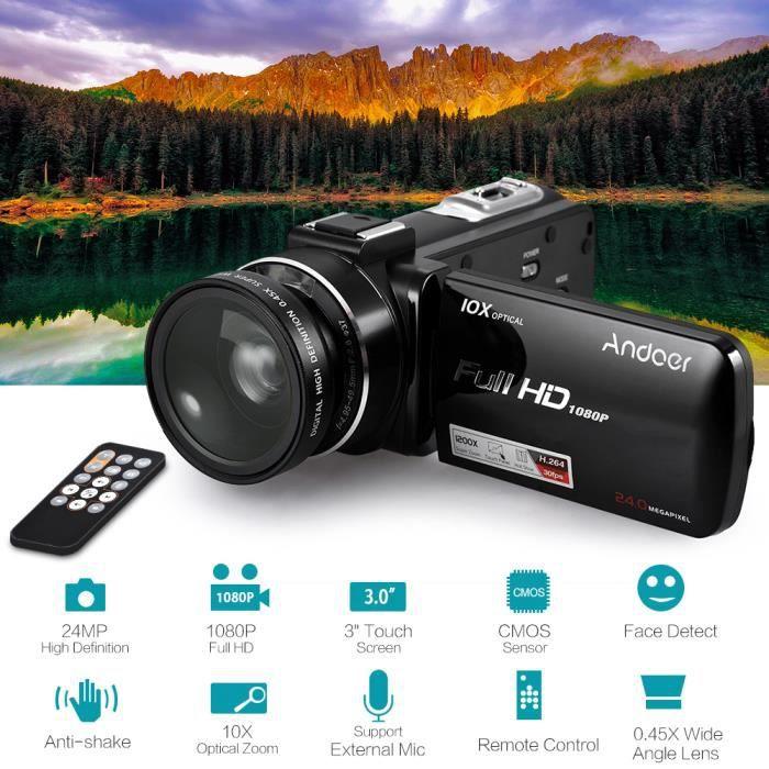 CAMÉSCOPE NUMÉRIQUE Andoer HDV-Z82 1080P Full HD 24MP Caméra Vidéo Num